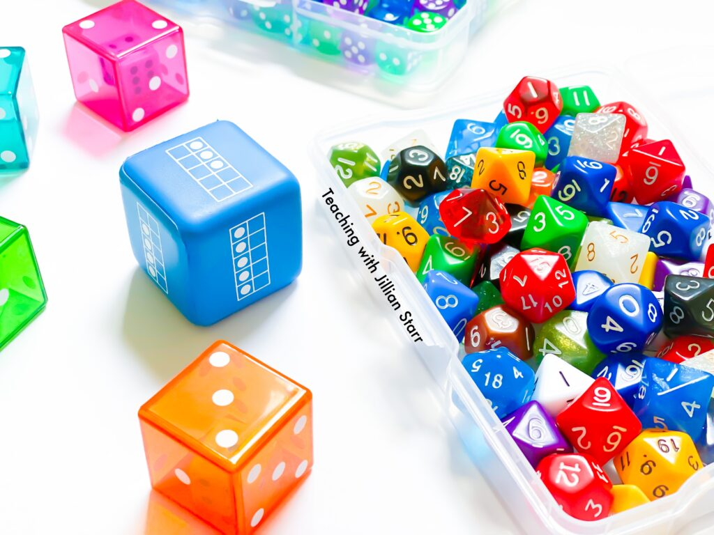 A variety of dice to use with math centers.