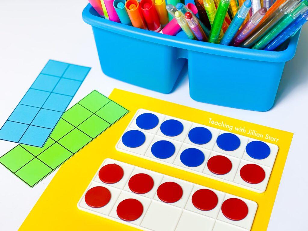 Ten Frames and Double Ten Frames as a math manipulative for first grade.