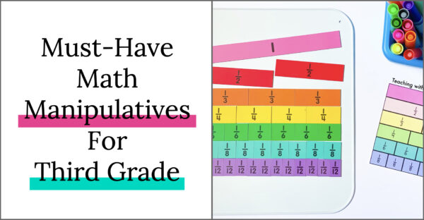 Five must-have math manipulatives for third grade, fraction tiles for math centers.