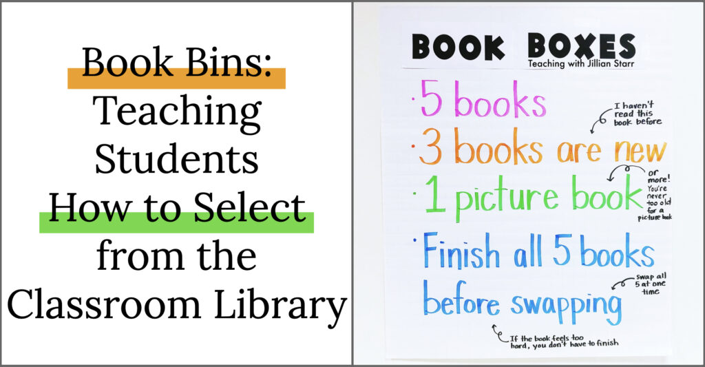 Book Bins: Teaching students how to select from the Classroom Library. Image of anchor chart with Book box rules.