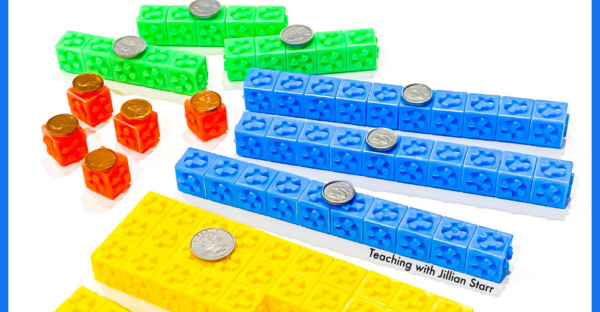 teaching coins with these great math manipulatives where the Coin values shown with snap cubes and coin glued to the top.
