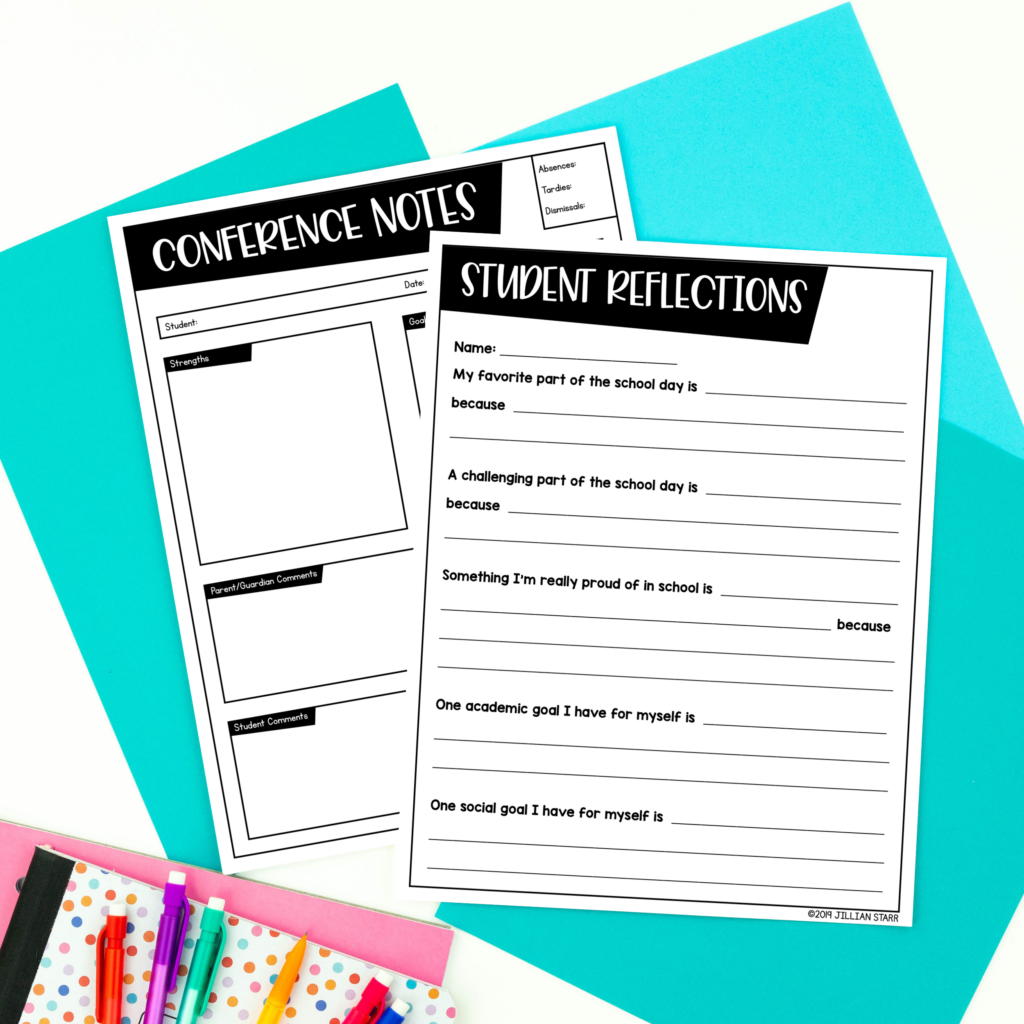 Student reflection and conference note taking sheet for school conferences