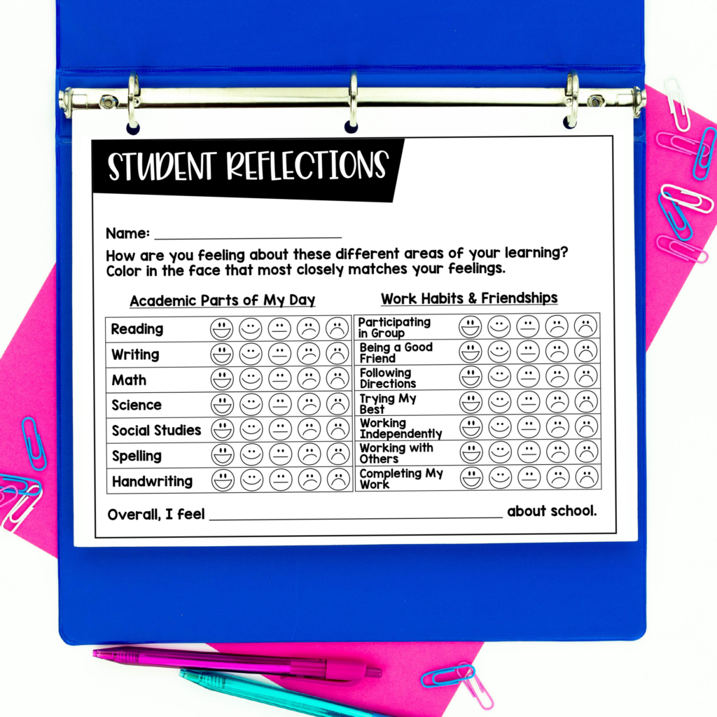 Student reflection sheet with emojis to share at school conferences.