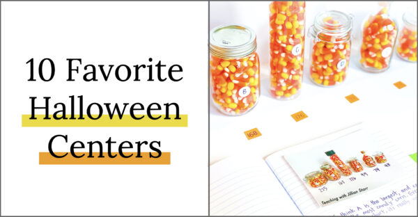 10 Favorite Halloween Centers (Center shown is candy corn estimation jars).