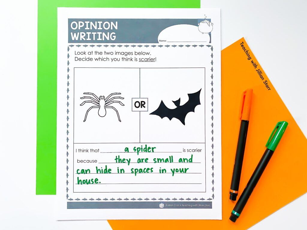 A Halloween Center focused on opinion writing! Students at this center must decide which is scarier: a spider or a bat. Then they provide evidence of their claim in the space below.