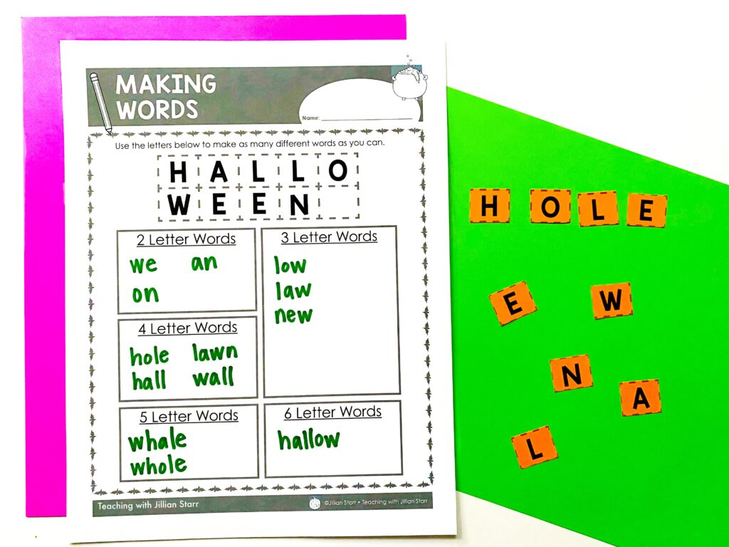 Making words center using the letters from Halloween. A variety of words have been created by rearranging the letters.