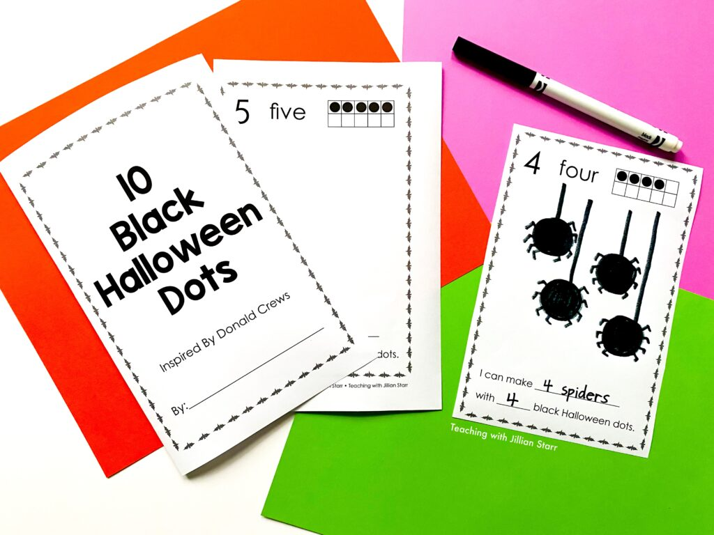 """A favorite Halloween center that focuses on early number sense and art. Using the book 10 Black Dots by Donald Crews for inspiration, students create their own """"10 Black Halloween Dots."""""""