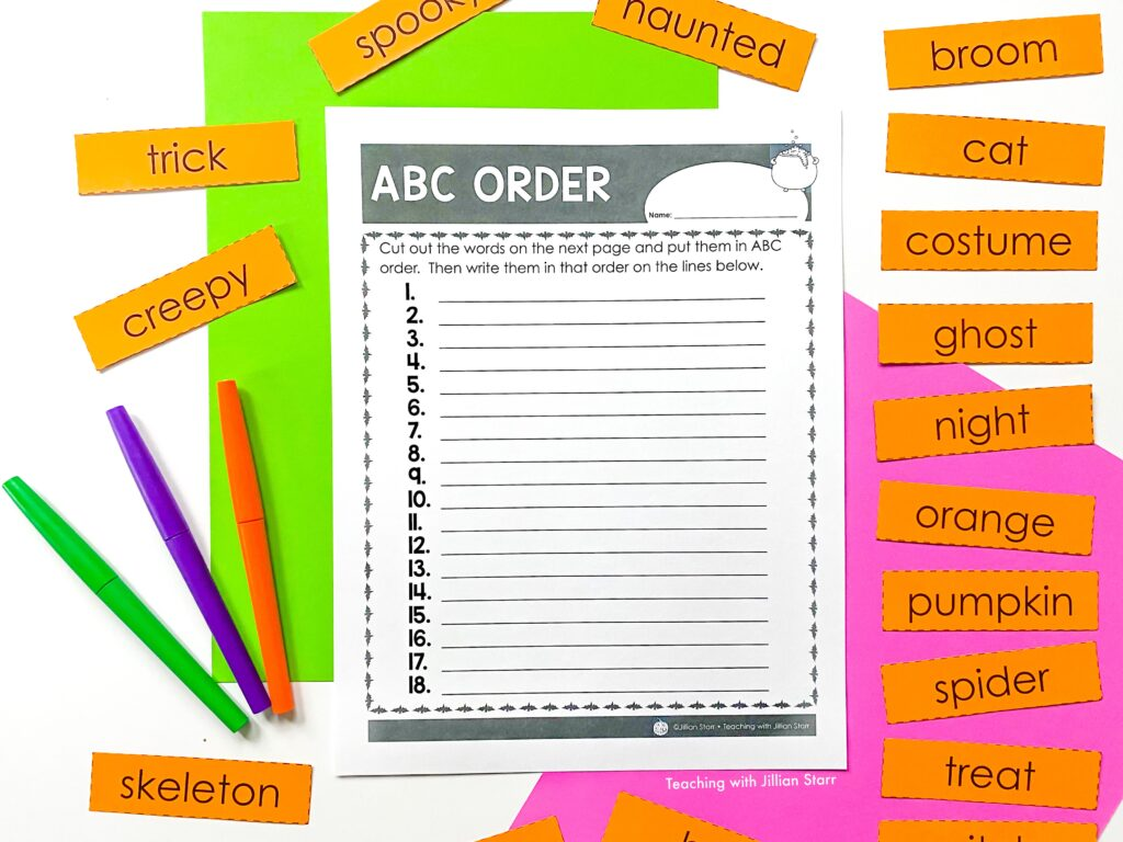 A Halloween Center focused on Halloween words and placing them in ABC order.