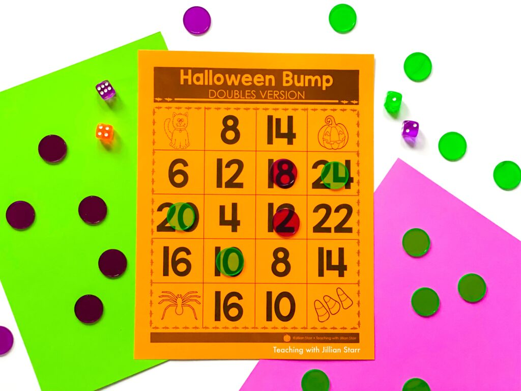 Math Halloween Center showing the game BUMP, with counters and dice.
