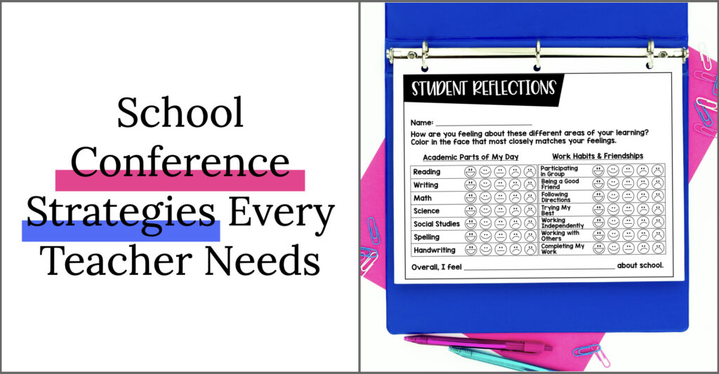 School conference strategies every teacher needs. Student reflection page for parent-teacher conferences.