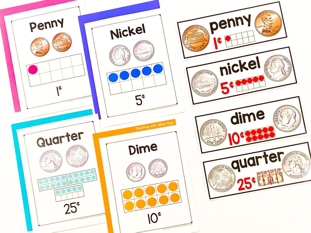 Use clear visuals like posters and math word wall cards to teach coins. I prefer ones that include the name, image, value and value shown on a ten-frame.