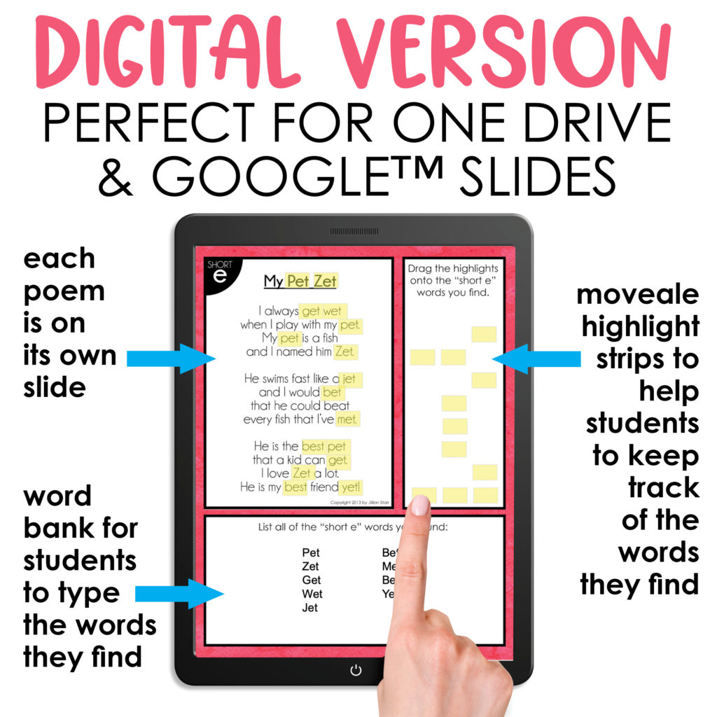 Digital Version of Phonics Poems for Google Slides and One Drive.
